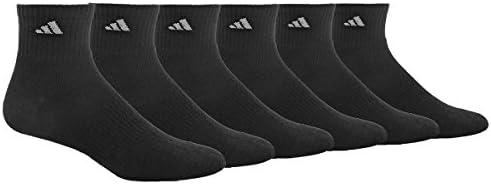 AdidasCalcetines atléticos de un cuarto, para hombre, paquete de 6 pares , Negro, aluminio 2