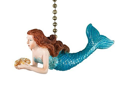 Ocean Mermaid Decorative Ceiling Fan Light Dimensional Pull Clementine Design