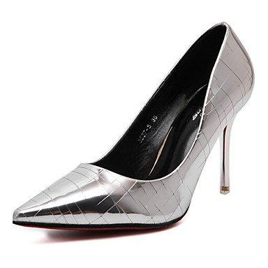 LvYuan-ggx Damen High Heels Fersenriemen PU Frühling Normal Fersenriemen Silber Silber Fersenriemen Grau 7,5 - 9,5 cm silver 2fe7dd