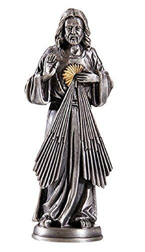 Pewter Prayer Patron Saint Statue - Divine Mercy, 3.75
