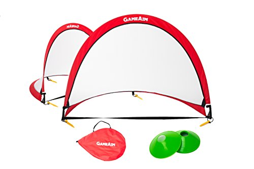 Kids 4FT pop up soccer goal by GAMEAIM- Two heavy duty portable soccer net with carrying case, 6 bonus cones – Great for kids and backyard fun!