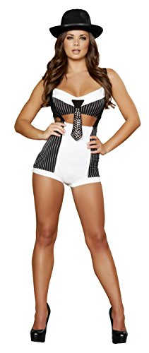 2 Piece Gangster Mob Wife Crop Top & High Waisted Shorts Party Costume
