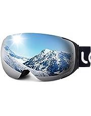LEMEGO Skibrille Ski Goggles Snowboardbrille Doppel-Objektiv Anti-Fog Rahmenlose UV-Schutz Schneebrille Helmkompatible Magnetisch Wechselobjektive Brille Für Damen Herren Snowboard Skifahren