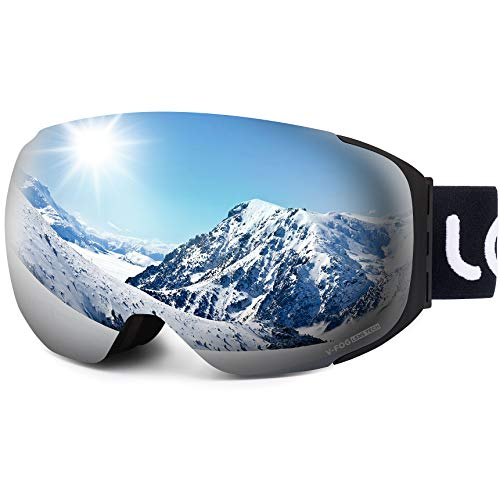 LEMEGO Ski Goggles - Frameless Exclusive 90S Anti-Fog Interchangeable Lens 100% UV400 Protection 10 Magnetic Snow Snowboard Goggles Helmet Compatible for Men & Women