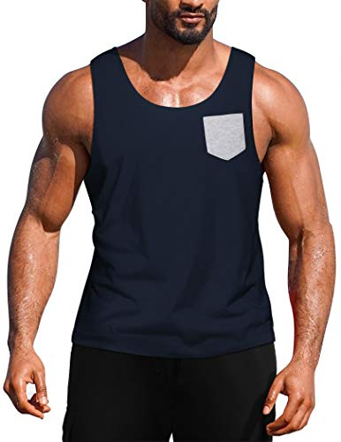 COOFANDY Men's Workout Tank Top Casual Sleeveless Shirt with Pocket for Gym Sport and Training
