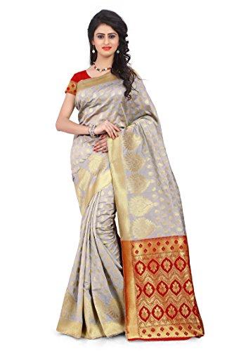 Rajnandini Women's Banarasi Silk Weaving Work Saree(JOPLLB1018B_Off White_Free Size) (White Silk Saree)