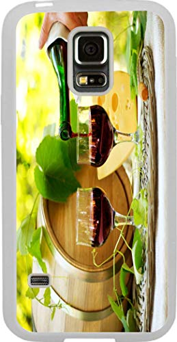 (Hard Rubber Clear Phone Case Galaxy S5 Case Cover- Vineyard Red Whine and Cheese with Barrel)
