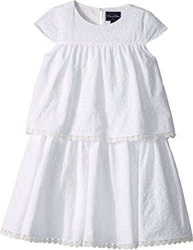 Oscar de la Renta Childrenswear Baby Girl's Cotton Flower Eyelet Tiered Dress (Toddler/Little Kids/Big Kids) White 8 by Oscar de la Renta (Image #2)