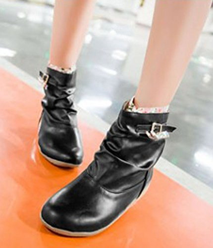 Aisun Womens Cute Sweet Floral Round Toe Buckle Strap Dress Slip On Flat Booties Ankle Boots Shoes Black RM8s9N5