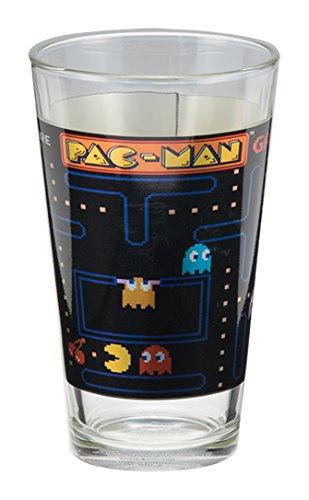 Pac Man Face (Vandor 69012 PAC-MAN 16 Ounce Laser Decal Glass Set, 2 Piece Set, Multicolored)