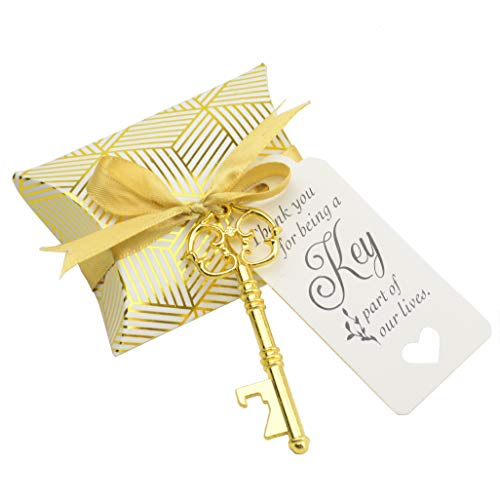 50pcs Wedding/Party Favor Souvenir Gift Set Pillow Candy Box Vintage Skeleton Key Bottle Openerst Gift Card Thank You Gift Tag Silky Ribbon (Antique -