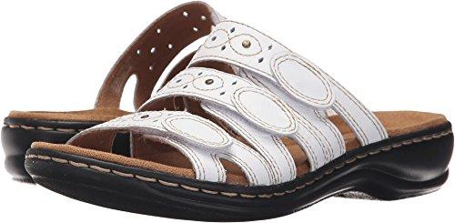CLARKS Women's Leisa Cacti Slide Sandal, White Leather, 7.5 M US
