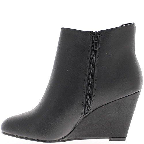 Bottines femme noires aspect cuir à talon compensé de 8,5cm