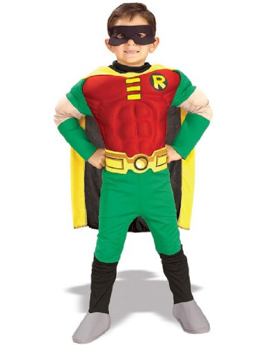 [Rubies DC Comics Teen Titans Deluxe Muscle Chest Robin Costume, Medium] (Teen Costumes Party City)