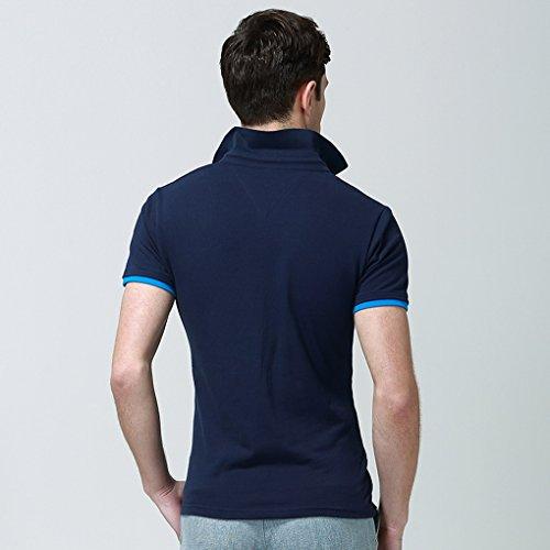 Col T Travail Décontracté Loisir Coton Sport En Bleu Manches Chemise Polo Acmede Courtes shirt De Homme EqBw4Y
