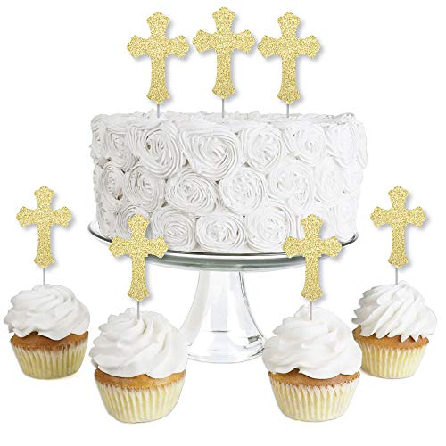 Gold Glitter Cross - No-Mess Real Gold Glitter Dessert Cupcake Toppers - Baptism or Baby Shower Clear Treat Picks - Set of 24 ()