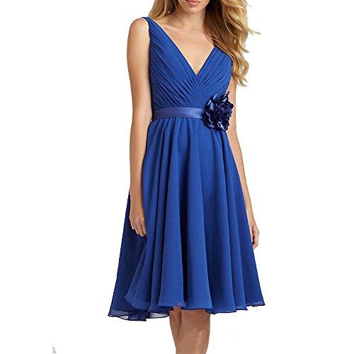 Fashion Plaza mousseline demoiselle d'honneur Double V-cou et satin Flower D0356 (EU44, Bleu Foncé)