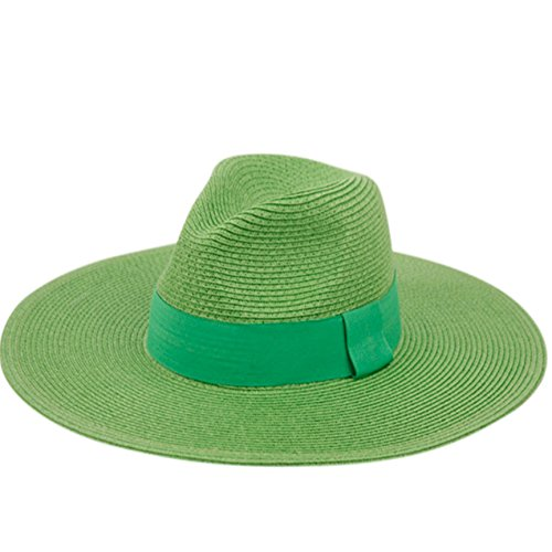 Summer Classic Straw Panama Fedora Sun Hat In Solid Color W/ Black Grosgrain Band Trim (LIME GREEN) ()