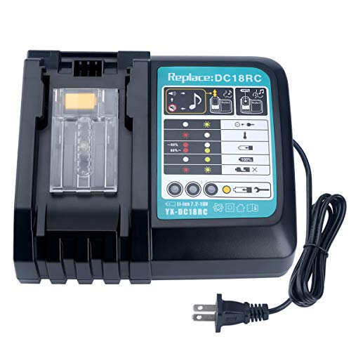 Biswaye Lithium Battery Charger DC18RC DC18RA for Makita 14.4V-18V LXT Lithium-ion Battery BL1815 BL1820 BL1830 BL1850 BL1840 BL1430 BL1415 with LED Screen
