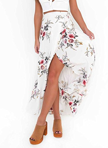 Face N Face Women's Boho Floral Print High Waist Summer Beach Wrap Maxi Skirt