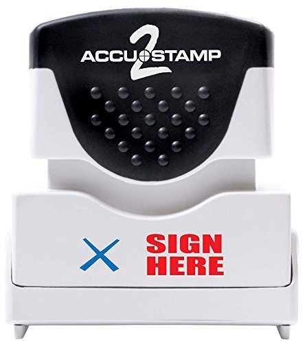 (ACCUSTAMP2 Message Stamp with Micro Ban Protection, Sign Here, Pre-Ink, Red and Blue Ink (035526) by AccuStamp)