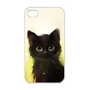 Black Cat Drawing for iPhone 4/4s Only Case Cover Laser Technology 100% TPU by ruishername