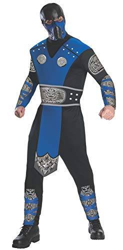 Mortal Kombat Adult Sub-Zero Costume And Mask, Blue/Black, Large -