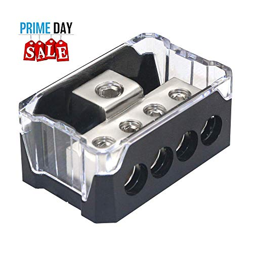 Elecer Power Distribution Block, Auto Car Audio Amplifier 1 in 3 Ways 0/2/4 Gauge in 4/8 Gauge Out Fuse Holder Circuit Protector Distribution Connecting Blocks(4 Way)