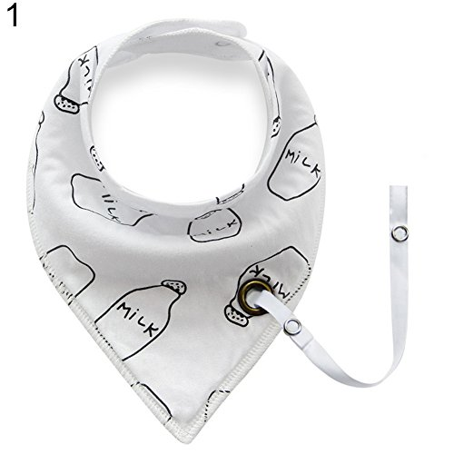 Price comparison product image yanQxIzbiu Baby Infant Toddler Soft Triangle Bandana Bib Saliva Towel with Pacifier Clip - 1