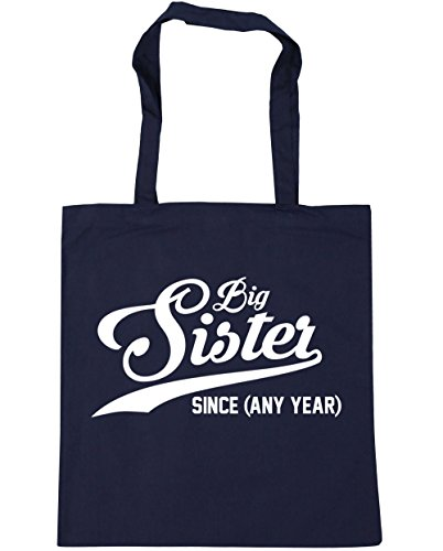 HippoWarehouse personalizable Big Sister desde (cualquier año) bolso de compras bolsa de gimnasio playa 42cm x38cm, 10litros, rojo clásico (rojo) - 21512-TOTE-Classic Red azul marino