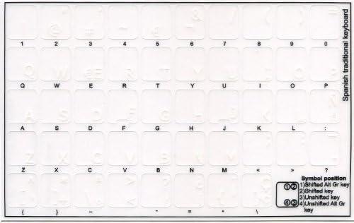 Qwerty Keys Pegatinas Teclado español Transparentes con Letras Blancas: Amazon.es: Electrónica