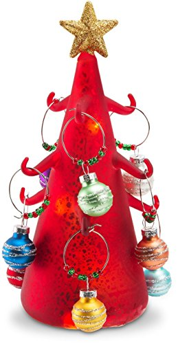 Pavilion Gift Company Holiday Hoopla Light Up Wine Charm Tree with 9 Glass Ornament, - Stopper Tree Wine