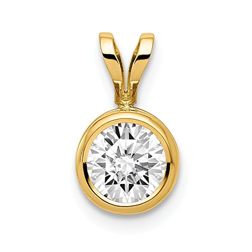 14k Yellow Gold 6mm Cubic Zirconia Bezel Pendant Charm Necklace Gemstone Fine Jewelry Gifts For Women For Her ()