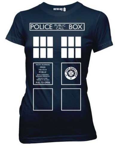 Doctor Who Costume Tardis Juniors Tee (Large, Navy