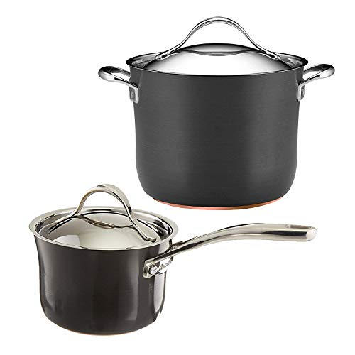 Anolon Nouvelle Copper Hard Anodized Nonstick 2-Quart Covered Saucepan with 8-Quart Covered Stockpot ()