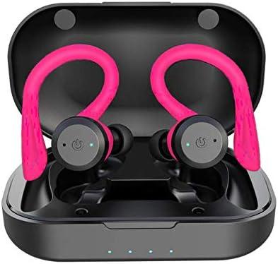 LLDKA Auriculares inalámbricos, Auriculares Bluetooth V5.0 en el oído, Auriculares inalámbricos con Sonido estéreo micrófono Impermeable Mini Sport Auriculares,Rosado
