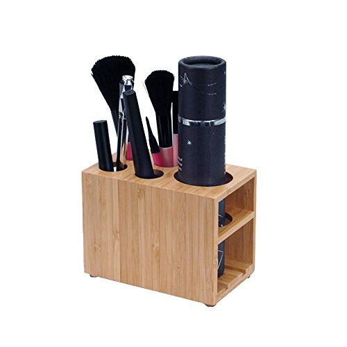 MobileVision Bamboo Make Up Brush Holder Organizer for Vanity or Bathroom, 5 Slots