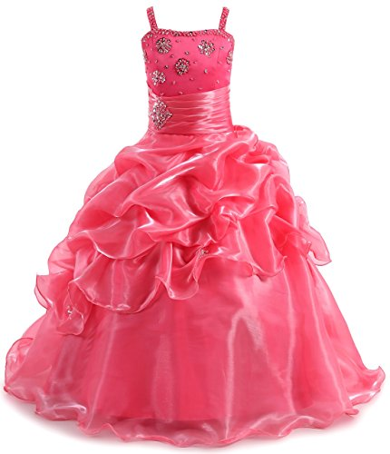 SHANGSHANGXI Kids Prom Dresses with Straps Long Floor Length Organza Pageant Gowns for Girls 7-16 Hot (100 Floors Halloween 13)