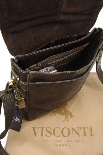 VISCONTI - LEO 18563 - Bolso bandolera - Apto para iPad, Kindle y portátil - Cuero Marrón (Marrone (Öl Braun))