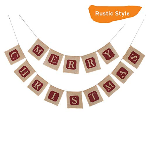 Upgraded Merry Christmas Jute Burlap Banners, Christmas Banners Merry Christmas Banner for Xmas Party Decorations Christmas Tree Fireplace Home Holiday Decor, Rustic Style ()
