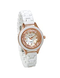 JewelryWe Bling Rhinestones Watch White Ceramic Band Girls Ladies Women Wristwatch
