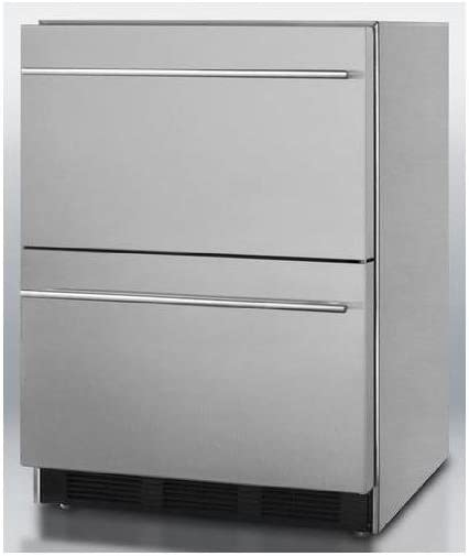 """B003C0UWFS SP6DS2D7ADA 24"""""""" 5.4 cu.ft. Commercially Approved Double Drawer ADA Compliant Refrigerator Automatic Defrost Adjustable Thermostat 100% CFC Free: Stainless Steel 41OtPytyM7L.SL1000_"""