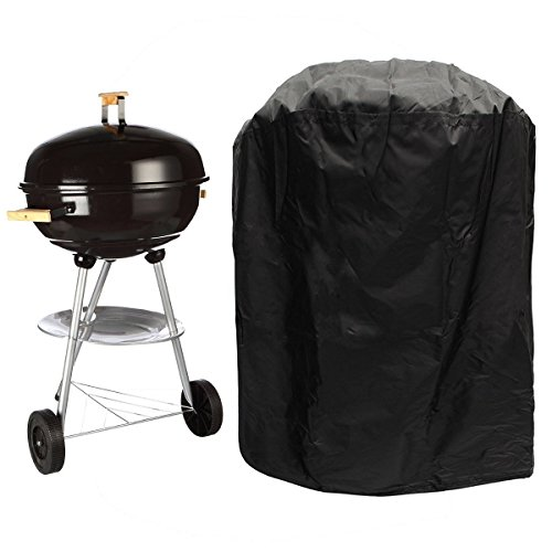 Yowo Grill Cover Round Charcoal BBQ Grill Covers Kettle Barbecue Grill Covers Outdoor Fire Pit Patio Grill with Elasticated Strap Dia 27.5 by 30 inch (Bbq Kettle Cover)