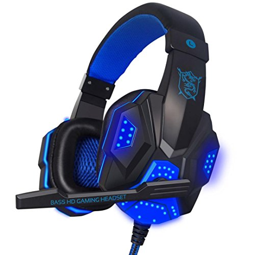 Featurestop Surround Stereo Gaming Headband Headphone USB 3.5mm Mic LED for PC Game Music BU ()