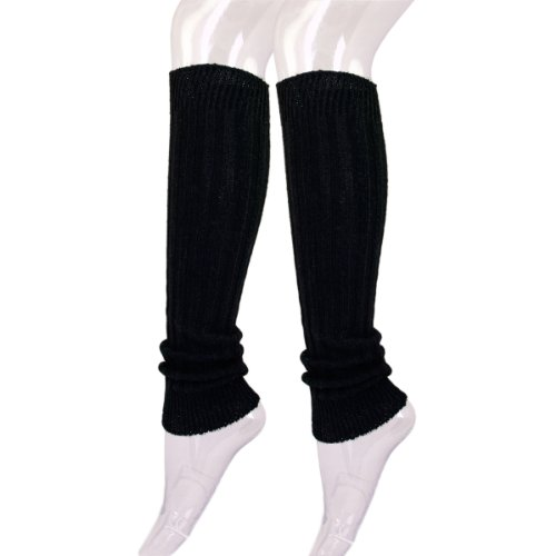 Fancy Slip Stitch Rib Knit Solid Color Leg Warmers, Black