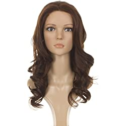Chestnut Brown Human Hair Blend Long Wavy Lace Front Wig