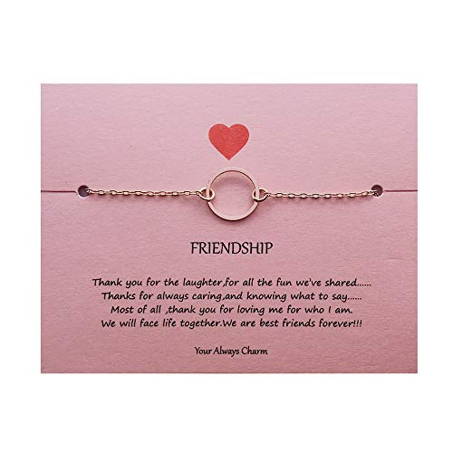 Bracelet Of Circle Friendship (Your Always Charm Open Circle Link Bracelet,Endless Friendship Bracelet with Gift Card (Rose Gold))