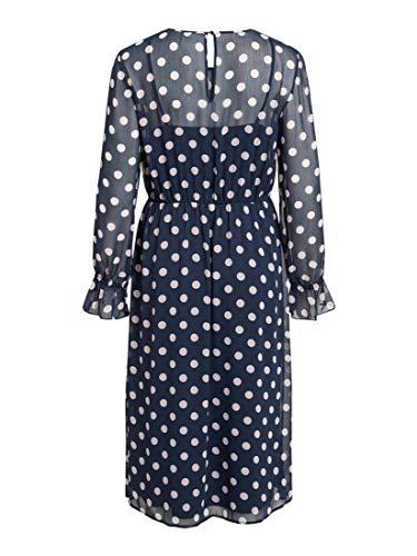 Mujer Dress Vestido Midi Vila neck O L Azul Vidotly Para s wx6qfzR