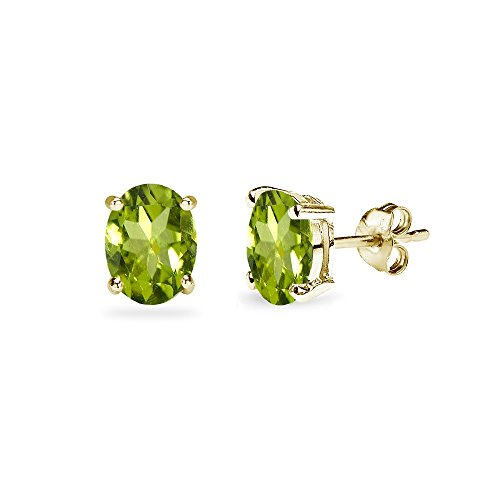 Gold Oval Cut Solitaire - Yellow Gold Flashed Sterling Silver Peridot 6x4mm Oval-Cut Solitaire Stud Earrings