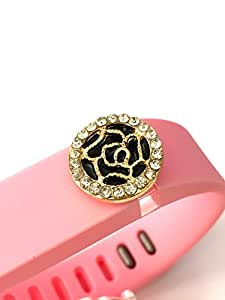 BSI 1pc Large Baby Pink Color Band with Jewelry Crystals Decoration /Rose with Gold and Diamonds/ for Fitbit FLEX Only With Metal Clasp Replacement /No tracker/+ Nice Crystals Feather Brooch